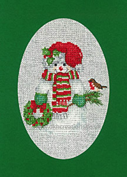 Sue Hill Christmas Snowman Greeting Card Green Cross Stitch Kit